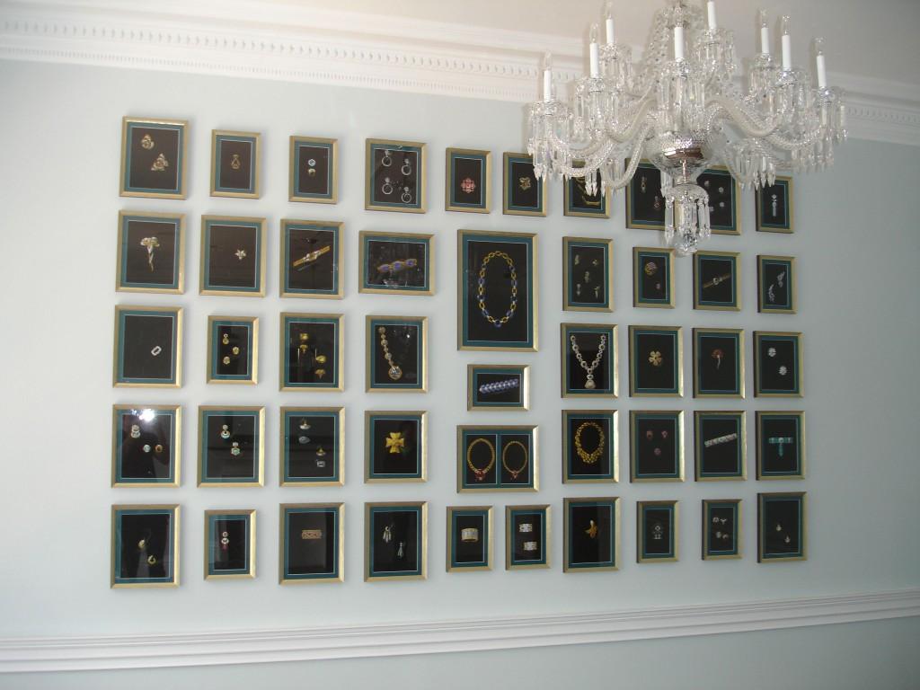 accessories-elegant-david-webb-framed-jewelry-unique-wall-art-design-inspiration-in-white-interior-design-with-sparkling-chandelier-18-unique-and-unusual-interior-wall-art-ideas